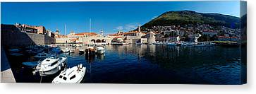 Boats In The Sea, Old City, Dubrovnik Canvas Print