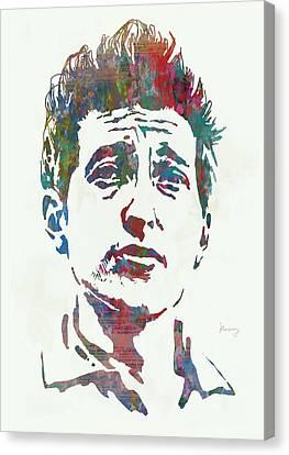 Bob Dylan - Stylised Etching Pop Art Poster Canvas Print by Kim Wang