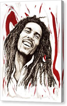Bob Marley Colour Drawing Art Poster Canvas Print by Kim Wang