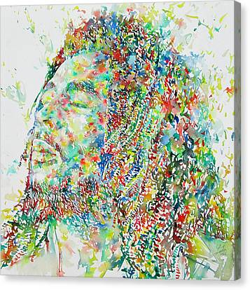 Bob Marley Watercolor Portrait.1 Canvas Print by Fabrizio Cassetta