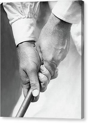 Bobby Jones Holding A Golf Club Canvas Print by O. B. Keeler
