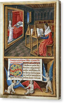 Boethius And Philosophy Canvas Print by British Library