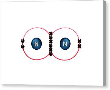 Bond Formation In Nitrogen Molecule Canvas Print by Animate4.com/science Photo Libary