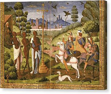 Book Of Hours For Charles V. 16th C Canvas Print by Everett