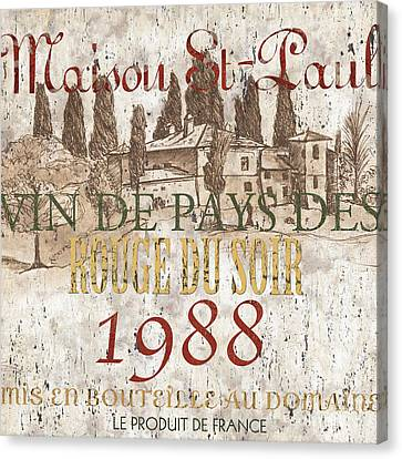Bordeaux Blanc Label 1 Canvas Print