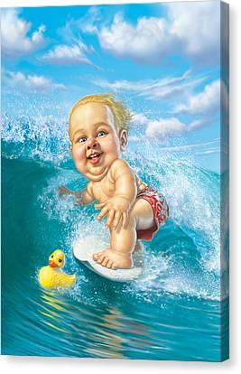 Blonde Canvas Print - Born To Surf by Mark Fredrickson