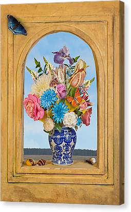 Canvas Print featuring the photograph Bosschaert - Flower Bouquet In Chinese Jar by Levin Rodriguez