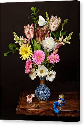 Canvas Print featuring the photograph Bosschaert - Flower Bouquet In Chinese Pot by Levin Rodriguez