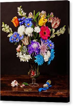 Canvas Print featuring the photograph Bosschaert - Flowers In Glass Vase by Levin Rodriguez