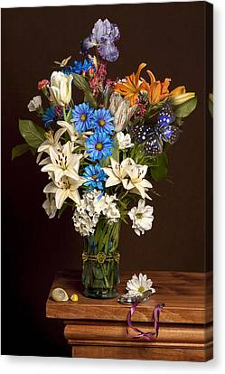 Canvas Print featuring the photograph Bosschaert -flower Bouquet In Vase With Watch by Levin Rodriguez