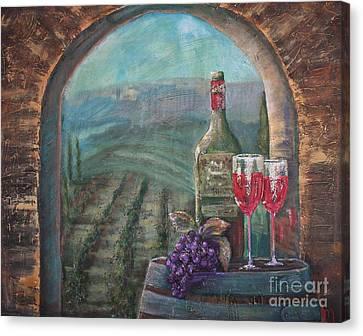 Vino Canvas Print - Bottle For Two by Jodi Monahan