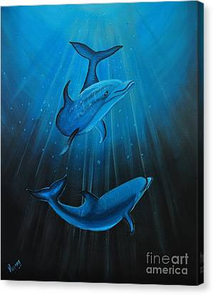 Bottle-nose Dolphins Canvas Print by Preethi Mathialagan