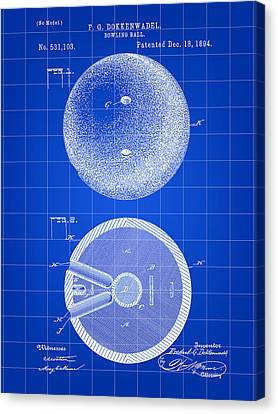 Curve Ball Canvas Print - Bowling Ball Patent 1894 - Blue by Stephen Younts