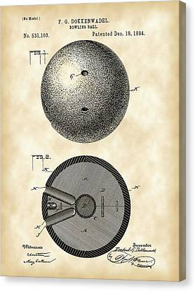 Curve Ball Canvas Print - Bowling Ball Patent 1894 - Vintage by Stephen Younts