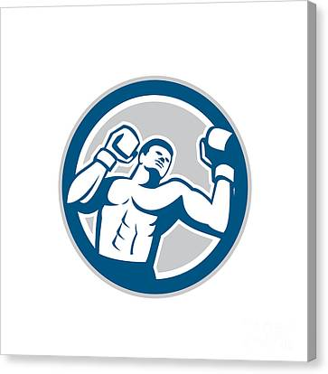 Boxer Boxing Boxing Circle Retro Canvas Print by Aloysius Patrimonio