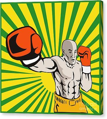 Boxer Boxing Jabbing Front Canvas Print by Aloysius Patrimonio