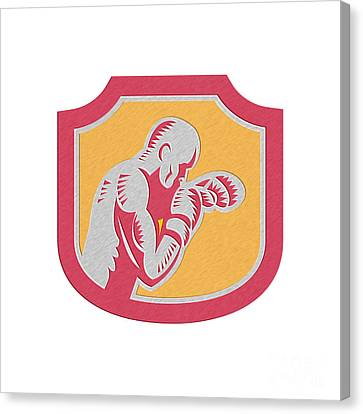 Knockout Canvas Print - Boxer Boxing Jabbing Punch Side Shield Retro by Aloysius Patrimonio