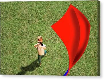Kite Canvas Print - Boy Flying A Kite by Carol & Mike Werner