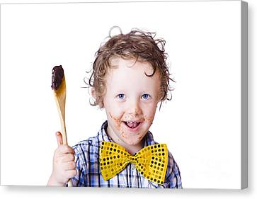 Boy Messing With Food Canvas Print by Jorgo Photography - Wall Art Gallery