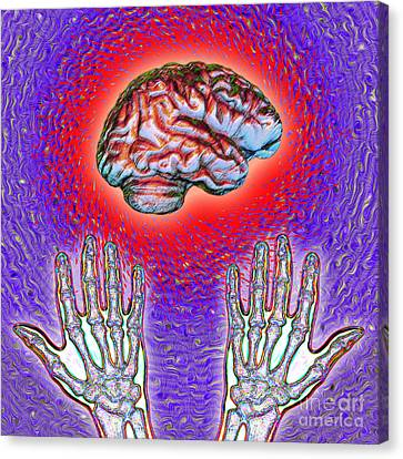 Brain And Hands Energy Canvas Print by Dennis D. Potokar