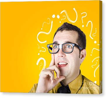 Brainy Man Puzzle Solving On Question Background Canvas Print