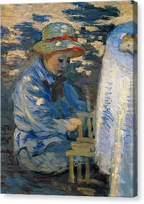 Breakfast In The Garden Canvas Print by Claude Monet