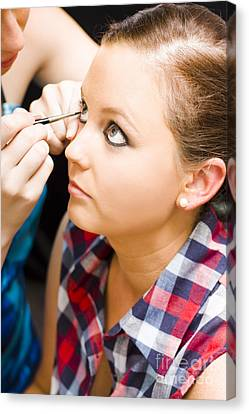 Bride Getting Eye Liner Makeup Applied Canvas Print