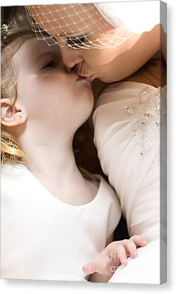 Poignant Canvas Print - Bride Kissing Her Daughter by Jorgo Photography - Wall Art Gallery