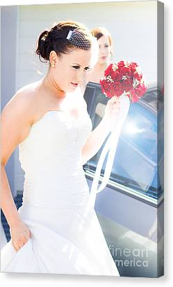 Bride Running Fashionably Late Canvas Print by Jorgo Photography - Wall Art Gallery