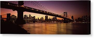 Bridge Across The River, Manhattan Canvas Print by Panoramic Images