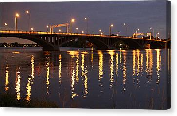 Bridge Over Water Canvas Print by Jocelyne Choquette