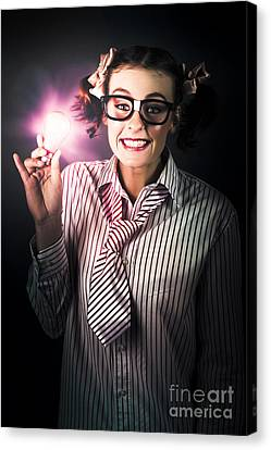 Bright And Nerdy Business Woman With Smart Idea Canvas Print by Jorgo Photography - Wall Art Gallery