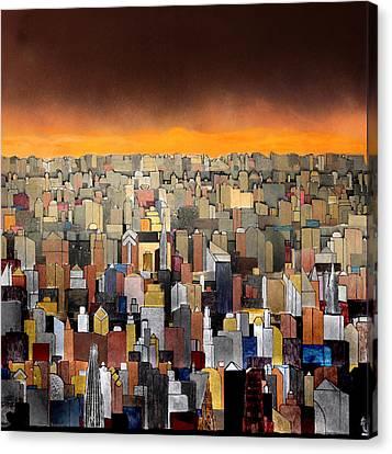 Bright Yellow Sunset Canvas Print by Robert Handler