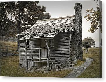 Log Cabin Art Canvas Print - Brinegar Cabin In The Blue Ridge Parkway by Randall Nyhof