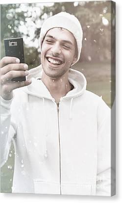 British Man On Smartphone Call In Winter Snow Canvas Print