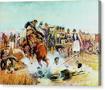 Bronc For Breakfast Canvas Print by Charles Russell