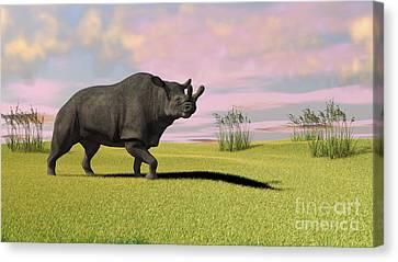 One Horned Rhino Canvas Print - Brontotherium Grazing In Prehistoric by Kostyantyn Ivanyshen