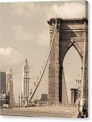 Brooklyn Bridge And Woolworth Building Canvas Print