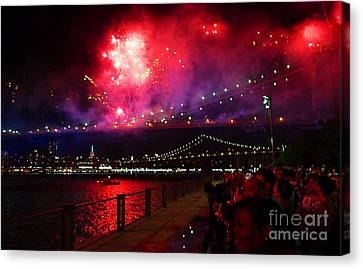 Brooklyn Bridge Fireworks Canvas Print
