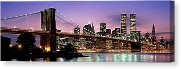 Brooklyn Bridge New York Ny Usa Canvas Print by Panoramic Images