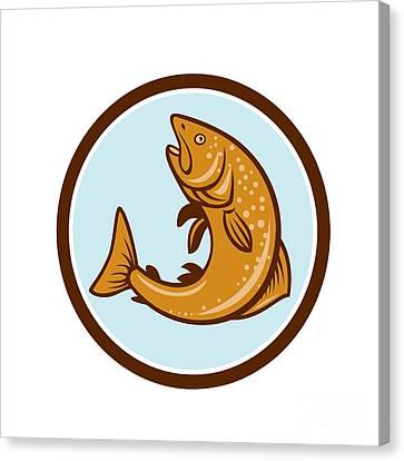 Brown Trout Jumping Circle Cartoon Canvas Print