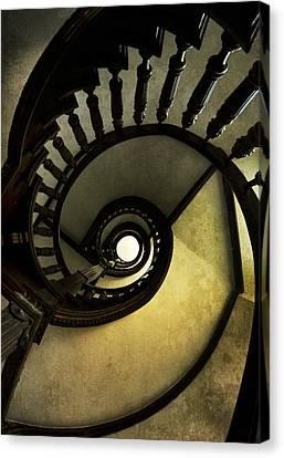 Brown Wooden Spiral Staircase Canvas Print by Jaroslaw Blaminsky