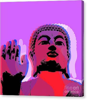 Canvas Print featuring the digital art Buddha Pop Art - Warhol Style by Jean luc Comperat