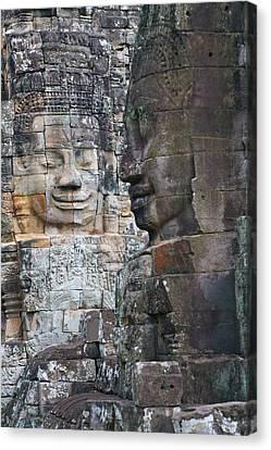 Angkor Thom Canvas Print - Buddhist Statues At Bayon Temple by Keren Su