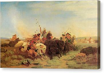 Buffalo Hunt Canvas Print by Charles Wimar