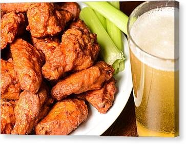 Buffalo Wings With Celery Sticks And Beer Canvas Print