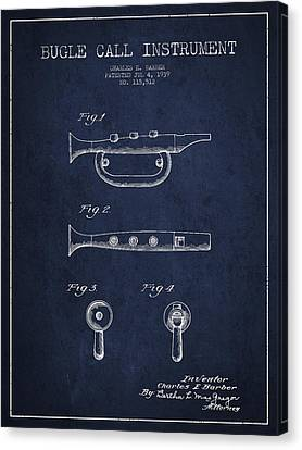 Bugle Call Instrument Patent Drawing From 1939 - Navy Blue Canvas Print