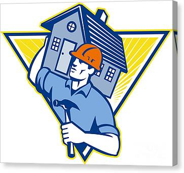 Builder Construction Worker Hammer House Canvas Print by Aloysius Patrimonio
