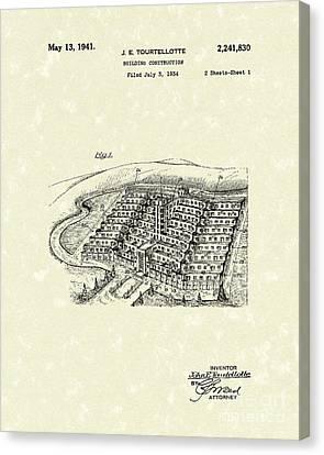 Building Construction 1941 Patent Art Canvas Print