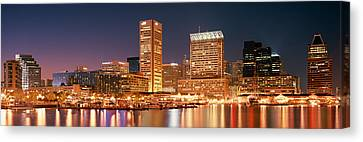 Buildings Lit Up At Dusk, Baltimore Canvas Print
